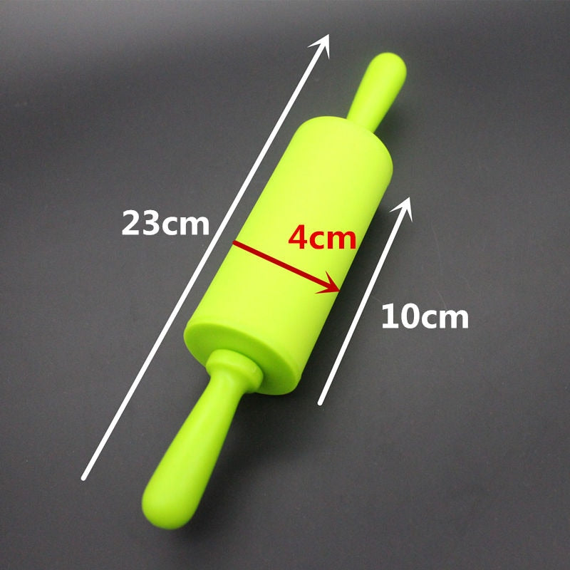 Small Size Plastic Handle Pastry Baking Tool Dough Silicone Rolling Pin Children Toy Rolling Pin
