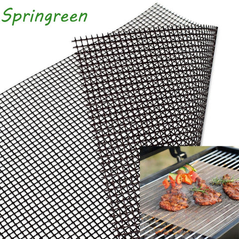 Springreen 40*30cm Non-stick BBQ Grill Mesh Sheet Barbecue Mat for Grilled Vegetables, Fish,