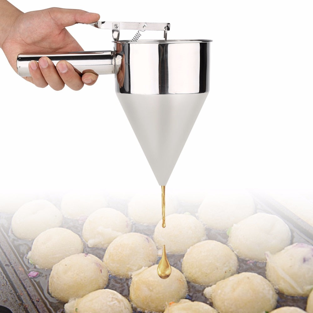 Stainless Steel Batter Pancake Ball Dispenser Cake Cupcake Dough Dispenser Funnel Household Takoyaki