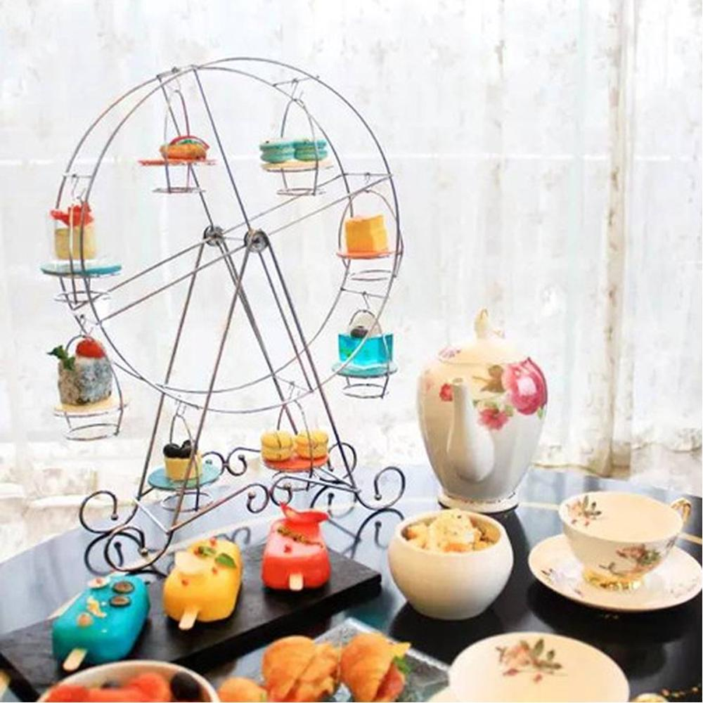 Stainless Steel Party Rotatable Pastry Cupcake Holder 8 Cups Supplies Cake Stand Ferris Wheel