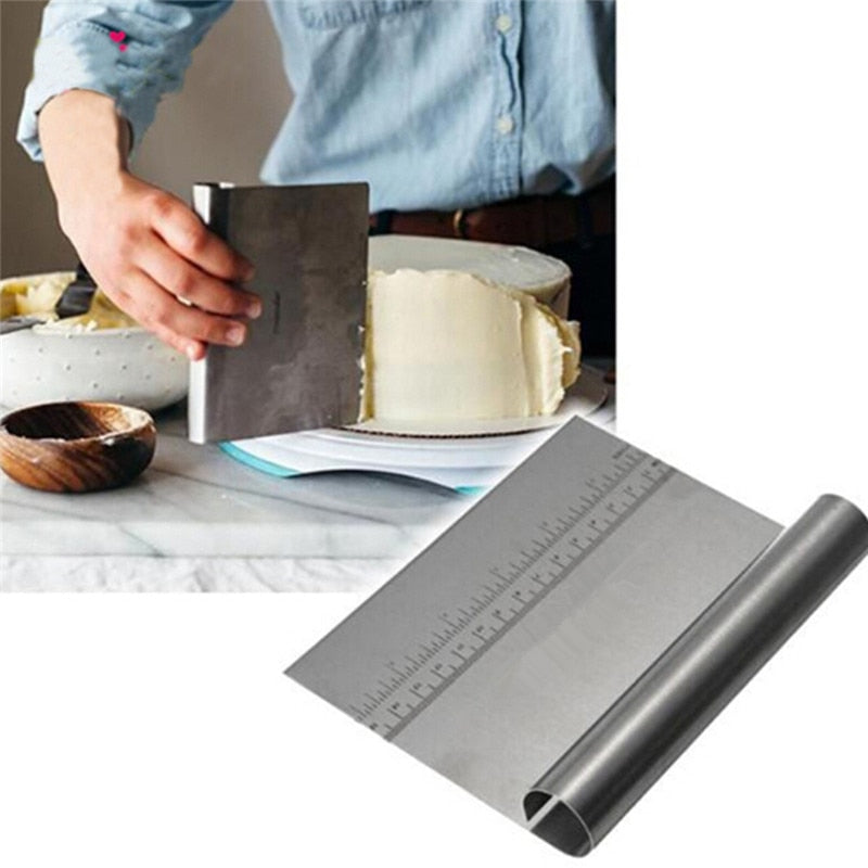 Stainless Steel Pastry Cutters Baking Cake Spatulas Cooking Pizza Dough Scraper Fondant Cake
