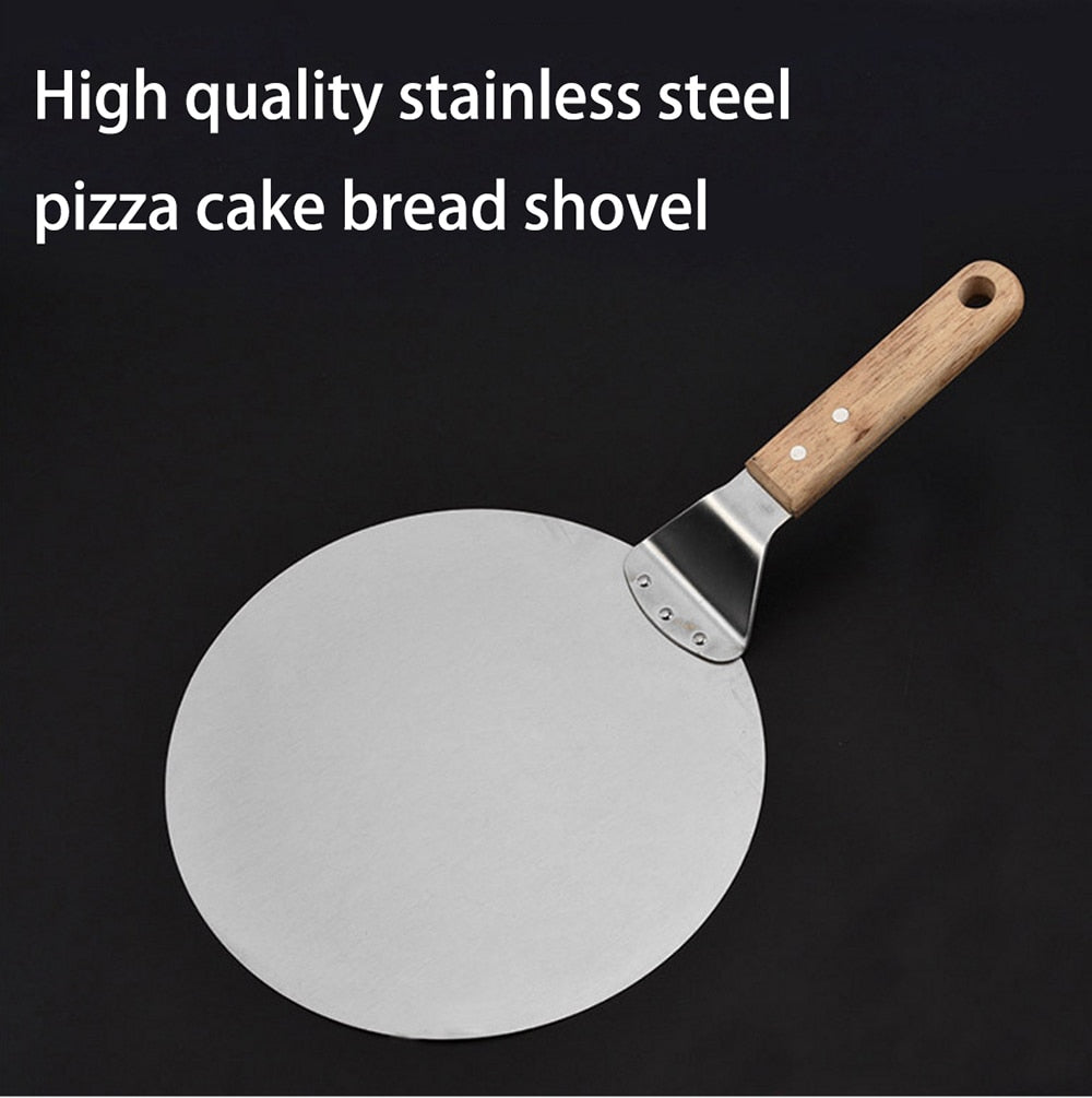 Stainless Steel Pizza cutter tesoura Trowel Large Thick Wood Round Cake Bread Spatula Baking Tools