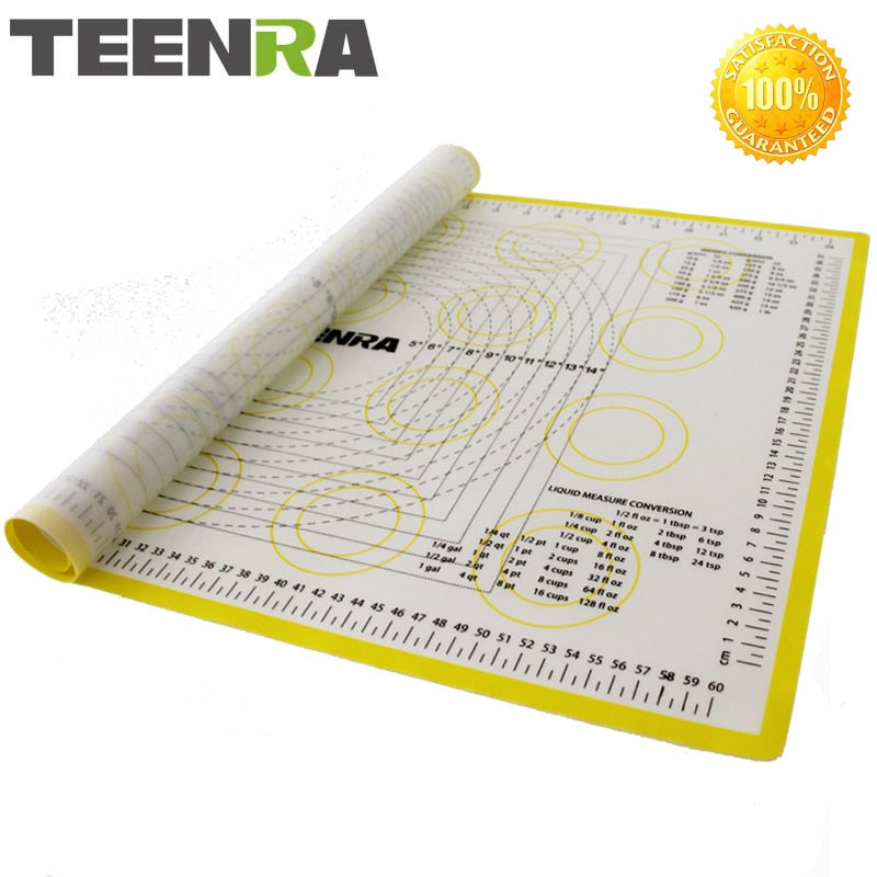 TEENRA 1PCS 66*46cm Non Stick Rolling Dough Mat Silicone Baking Mats And Liners Oven Silicone Pastry