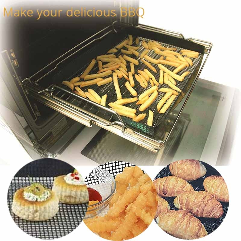 TEENRA 1Pcs Black Teflon Baking Tray Non-stick Baking Mat Oven Basket Baking Sheet PTFE Oven Chip