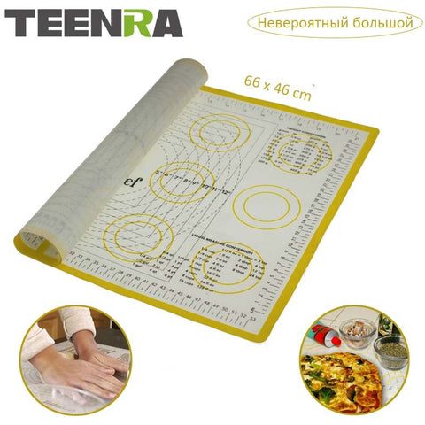 TEENRA Ex-large Silicone Mat for Oven Macaron Silicone Baking Mat Sheet Scale Rolling Dough Mat
