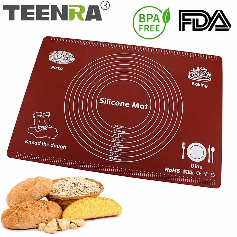 TEENRA Silicone Pastry Mat Large Size Non-stick Baking Cooking Mat Silicone Rolling Dough Mat Baking