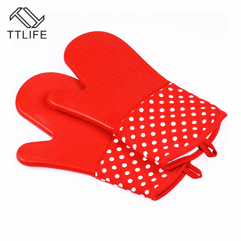 TTLIFE 1PC High Quality Silicone Oven Mitts Microwave Oven Gloves Slip-resistant Bakeware Kitchen