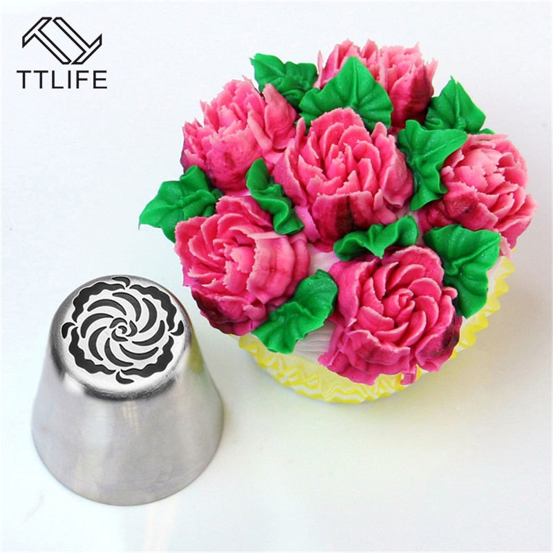 TTLIFE DIY Cake Decorating Nozzles Stainless Steel Icing Piping Nozzle Flower Cookie Chocolate