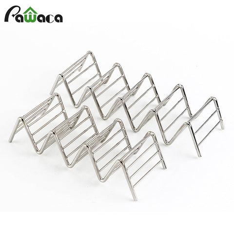 Taco Holder Stand Rack Stainless Steel Hard Soft Shells Wave Mexican Food Rack Pizza Tool Restaurant