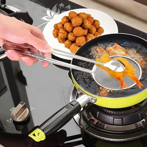 Cooking Tool Food Clip Tong Stainless Steel Drain Oil Fried Food Strainer BBQ Salad Buffet