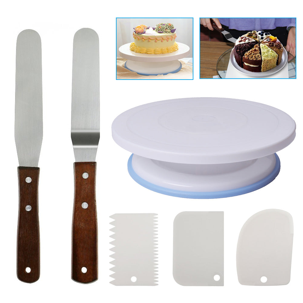 Turntable Rotating Cake Stand with Comb And Icing Smoother Icing Spatula Cupcake Swivel Plate