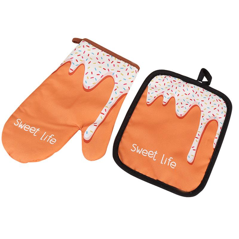 Two-Piece Donuts Pattern Microwave Gloves Insulated Pad Cotton And Linen Padded High Temperature