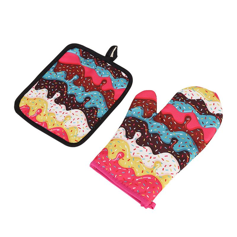 Donuts Pattern Microwave Gloves Insulated Pad Cotton And Linen Padded Pot Holder Kitchen