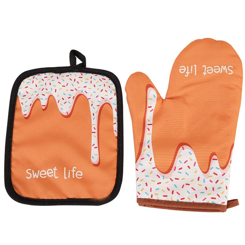 Two-Piece Donuts Pattern Microwave Gloves Insulated Pad Cotton And Linen Padded Pot Holder Kitchen