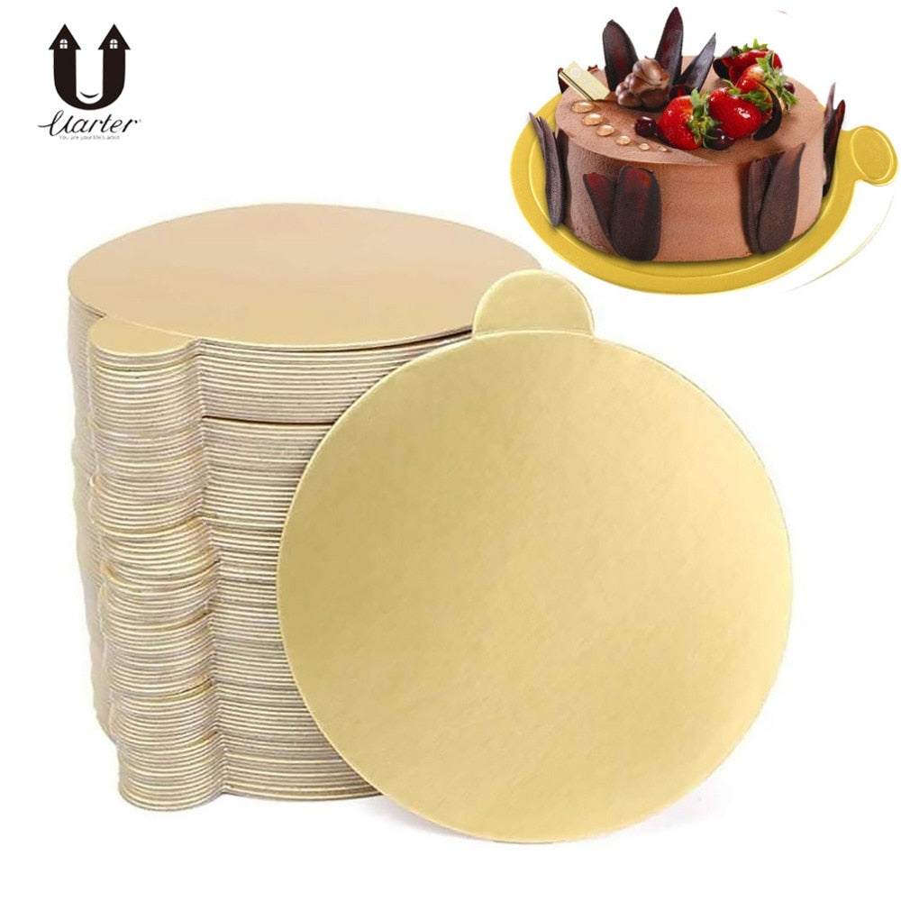 Uarter 100PCS High quality Round Cake Base Disposable Paper Coasters Practical Cupcake Board