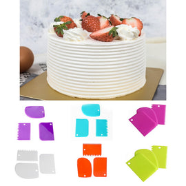 Urijk 3Pcs/Set Blade Fondant Cake Decoration Tool Plastic Cake Scraper Set Pastry Cream Butter Spatula Multifunction