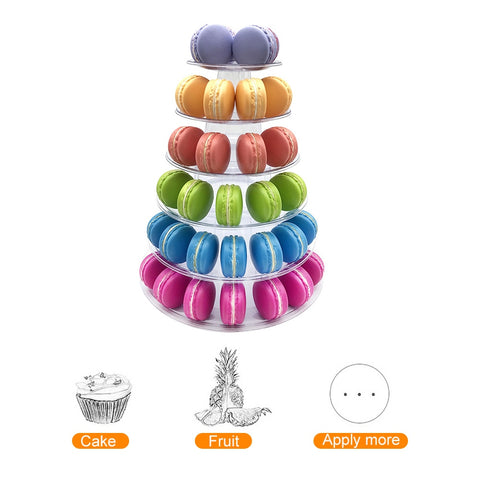 Urijk 4/6 Tiers Macaron Tower Macaroon Display Cake Stand Cupcake Display Rack Holder Birthday Party