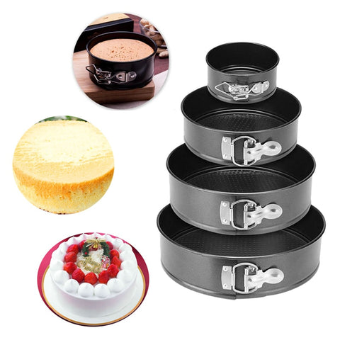 Urijk Black Carbon Steel Cakes Molds Non-Stick Metal Bake Mould Round Cake Baking Pan Removable