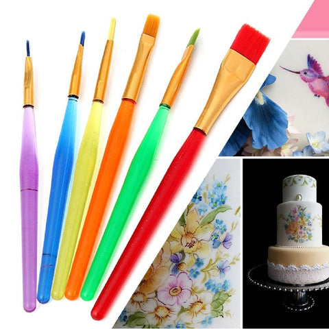 6Pcs Fondant Cake Decorating Painting Brush Sugar Craft Diy Tool Flower Modeling Kitchen