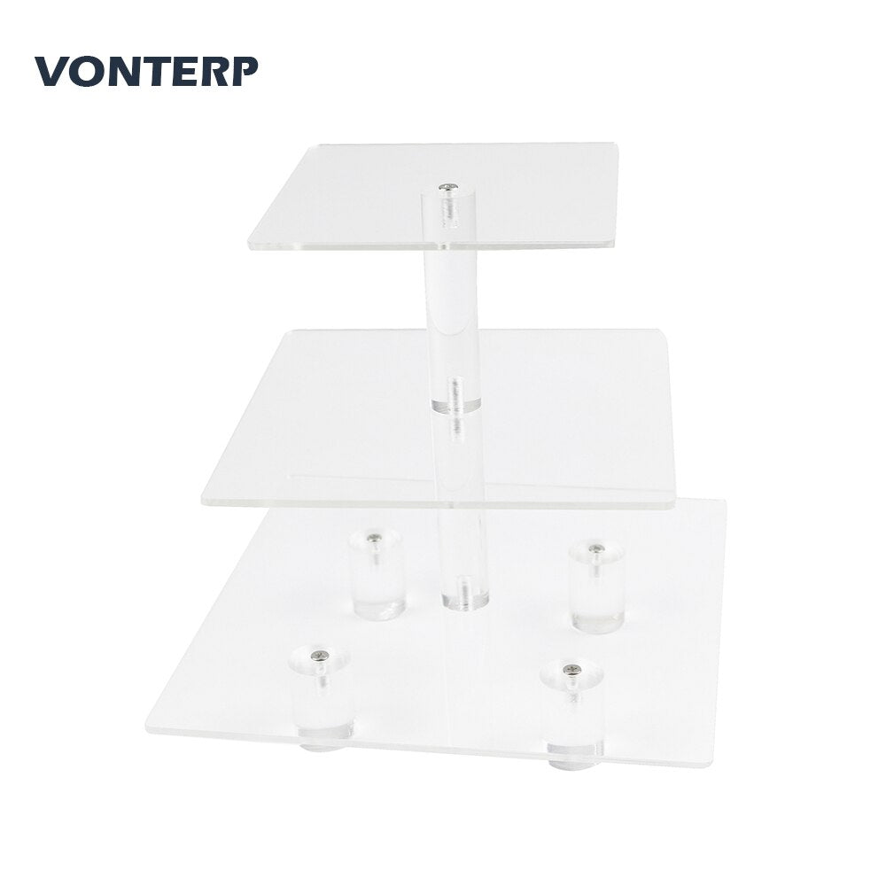 VONTERP square transparent 3 Tier Acrylic Cupcake Display Stand /cake stand Acylic cake holder