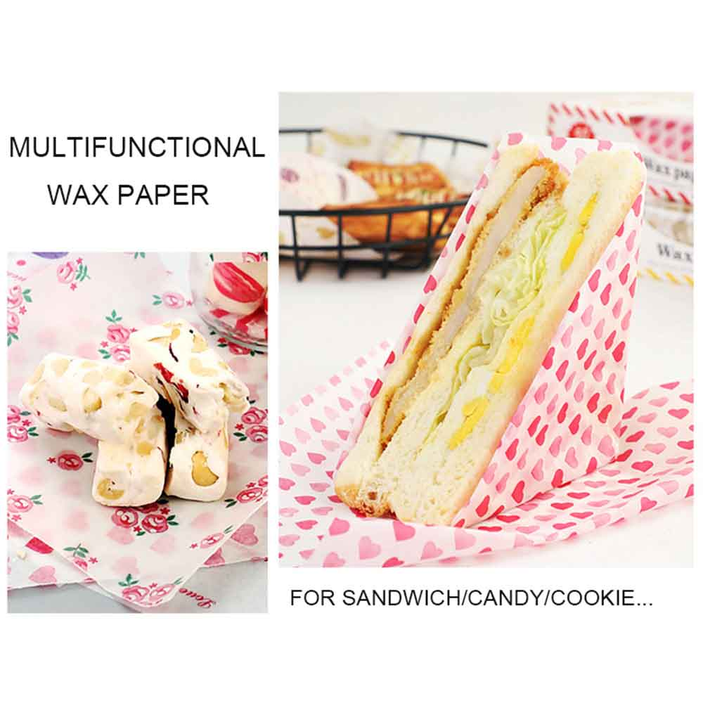 50Pcs/Lot Set Wax Paper Grease Paper Toast Bread Sandwich Burger Food Wrapping Oilpaper BBQ Baking