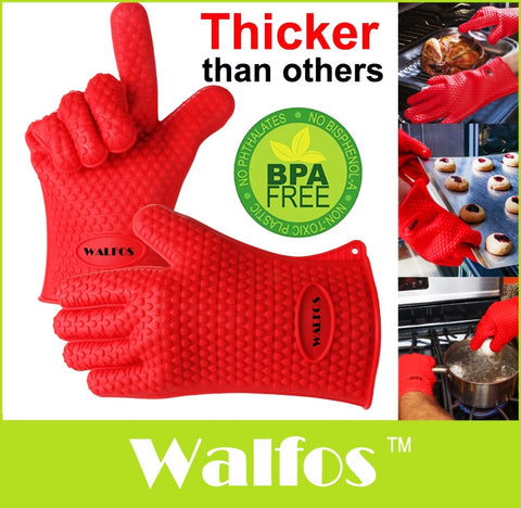 WALFOS 1pc Heat Resistant Kitchen glove Thick barbecue grilling glove Silicon BBQ Grill Oven Mitt