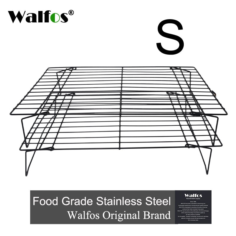 WALFOS 3 layers stackable cooling rack metal cake cookie biscuits bread cooling rack net mat