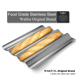 WALFOS Brand 100% Food Grade Carbon Steel 4 Groove 2 Groove Wave French Bread Baking Tray