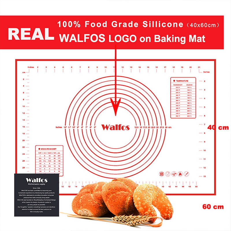 WALFOS Ex-Large Non-stick Silicone Pad For Oven Baking pastry Mat Scale Rolling Dough Mat Fondant