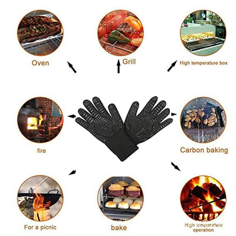 WALFOS Heat Resistant BBQ grill Gloves Insulated Durable Fireproof For Cooking Baking