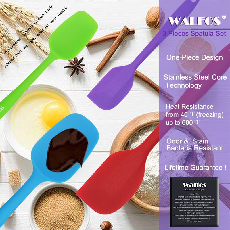 WALFOS  food grade Non Stick butter cooking silicone spatula set cookie pastry scraper cake baking