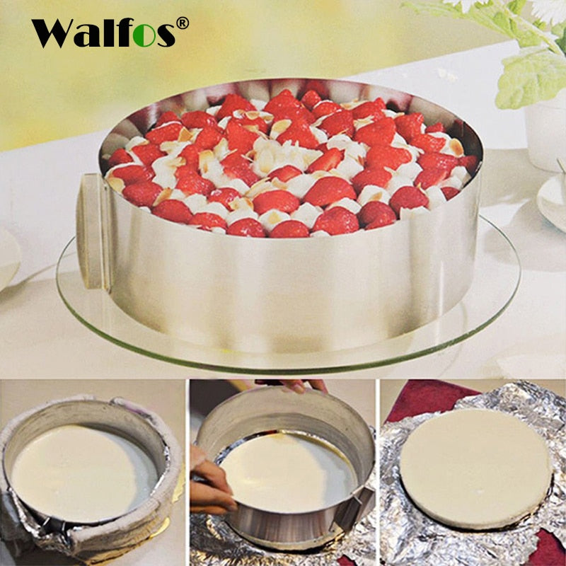 WALFOS food grade Stainless Steel Adjustable cake pan Retractable Circle Mousse Ring Mould Baking