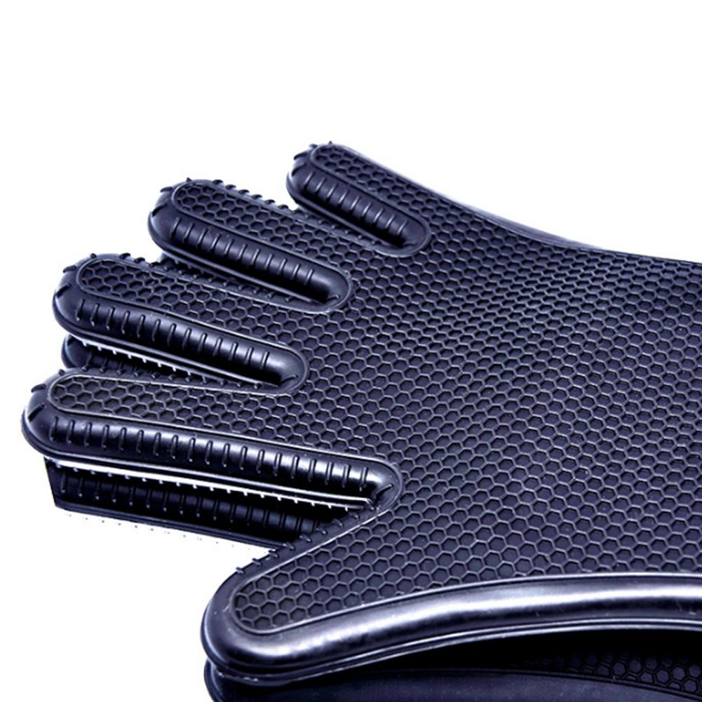 Waasoscon Kitchen Oven Gloves Anti-Hot Anti-Slippery Black Silicone Long Honeycomb BBQ Gloves Heat