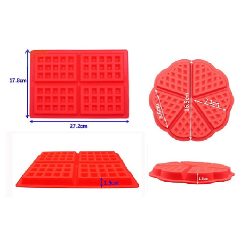 Waffle Mold Non-stick Silicone Kitchen Bakeware Cake Mould Makers for Oven High-temperature Baking