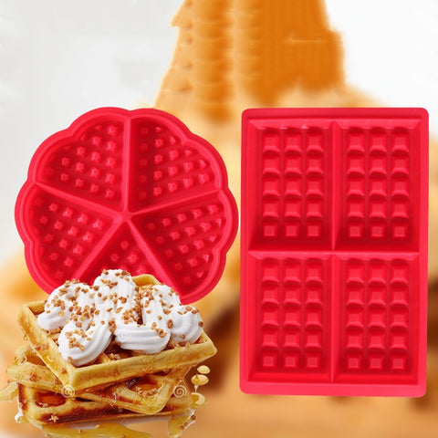 Waffle Molds Non-stick Silicone 4-Cavity Waffles Cake Chocolate Mold Donut Maker Fondant Baking