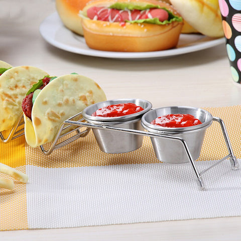 Wave Shape Stainless Steel Taco Holder Stand Rack With Cup Kitchen Food Holders Tacos Display