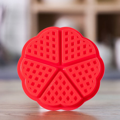 Wind flower Heart Shape Silicone 5-Cavity Waffle Mold Microwave Baking Cookie Cake Muffin Bakeware