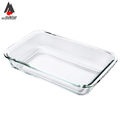 Wulekue Clear Oblong Toughened Glass Baking Dishes Pan Oven Basics Plate Bakeware Non-Stick