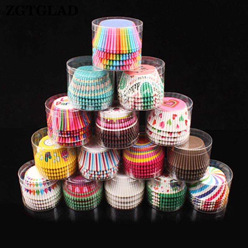 ZGTGLAD 100pcs cupcake liner baking cup cupcake paper muffin cases cake decorating tools Cake box