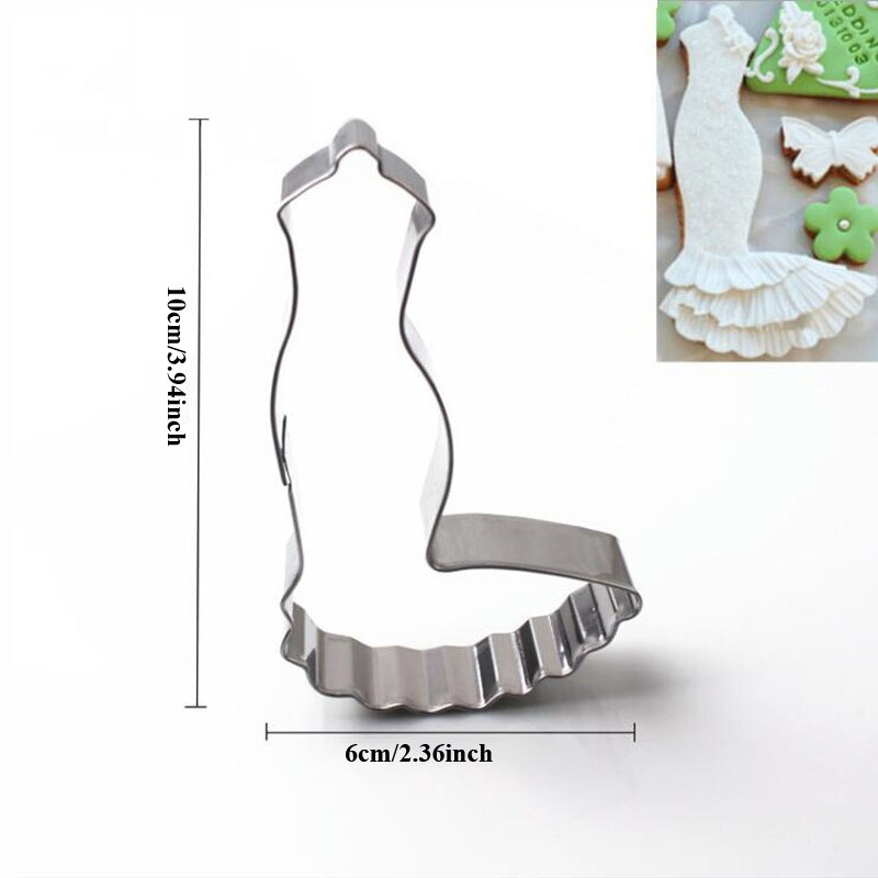 Wedding Dress Metal Cookie Cutters couple Fondant Cake Decor princess Cupcake Chocolate Biscuit