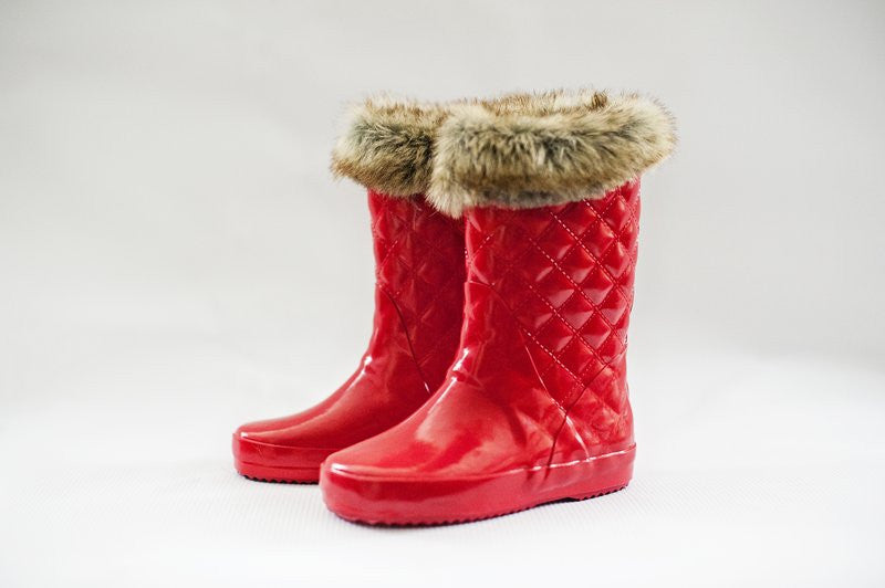 Girls Gumboots Red gloss fur | Frankie and Lola