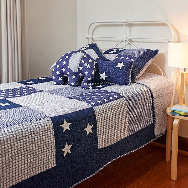 Lachlan Navy Single Bed Bedspread Set | Linen 'n' Things
