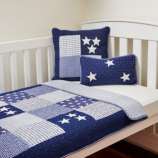 Lachlan Navy Cot Quilt  | Linen 'n' Things