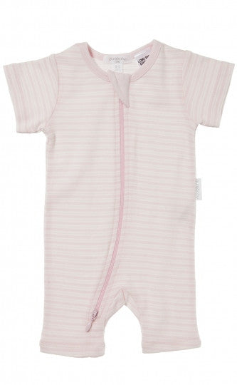 Short Sleeve Zip Growsuit - Pale Pink Stripe | Purebaby