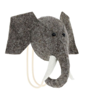 Felt Elephant Head Hook | Fiona Walker England