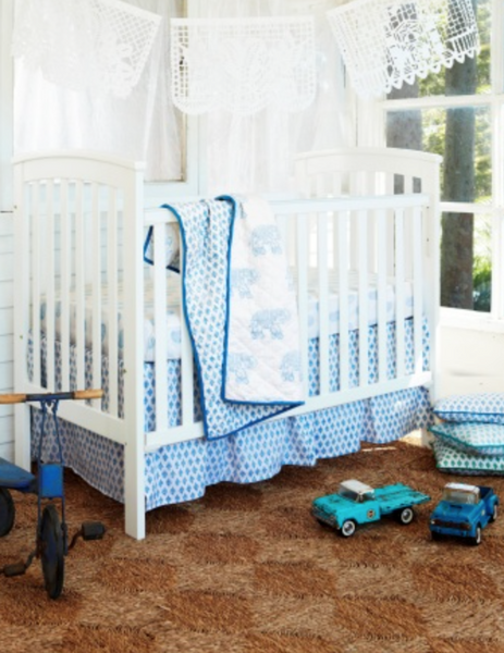 Cot Set - Elephant Blue | Haveli