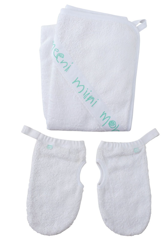 Hooded Towel + Bathing Mits - Welcome to the World | e3-M