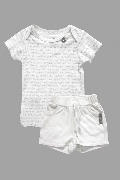 Pure Newborn T'Shirt & Short - Pure White | e3-M