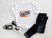 Load image into Gallery viewer, Halloween Banner Pumpkin and Stars Short-Sleeve Unisex T-Shirt (more colors available) - Next Stop Main Street