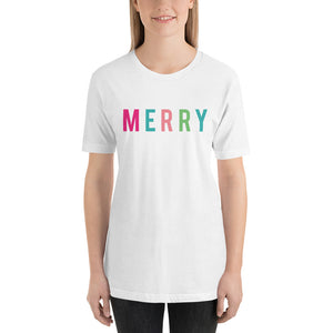 Christmas Merry - Colorful Short-Sleeve Unisex T-Shirt - Next Stop Main Street